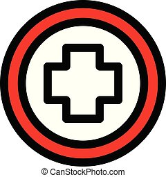 Cross in circle icon, outline style