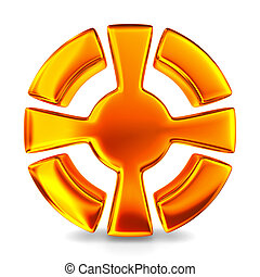 cross in circle on white background. Isolated 3D image