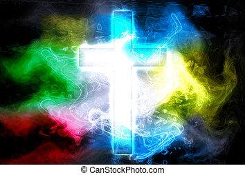 cross in color smoke