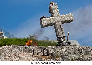 Cross in Fisterra, La Coruna, Galicia, Spain
