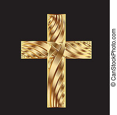 Cross in gold beautiful design vector