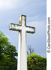 Cross in graveyard.