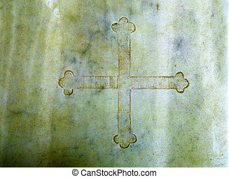 Cross in marble. Color Structure rock background.