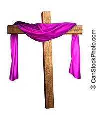 a cross with a purple cloth draped on it