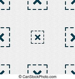 Cross in square icon sign. Seamless pattern with geometric texture. Vector