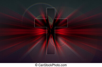 Cross in the center of an explosion