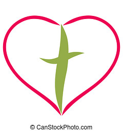 cross in the frame in the form of a heart, smooth lines