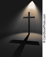 Cross in the light with shadow