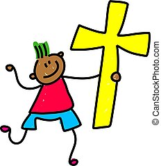 cross kid - happy little ethnic boy holding an easter cross ...