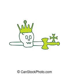 cross., kroon, schedel, zwaard