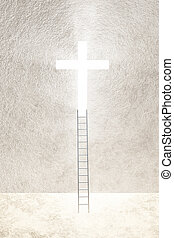 Cross - Ladder leads to bright cross