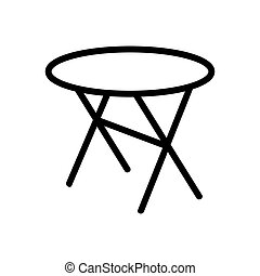 cross legged round table icon vector outline illustration - ...