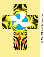 Cross light - Christian cross light with dove Holy spirit...