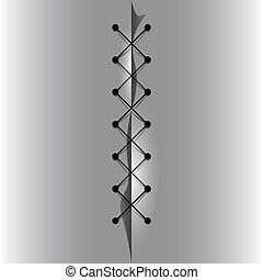 Cross linked thread seam. - Cross linked thread seam, vector...