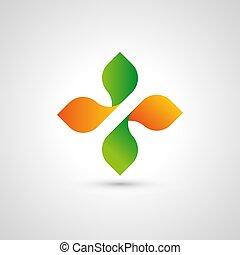 Cross logo. Medical emblem. Organic products icon. Eco sign. Healthy food. Natural logotype. Spring symbol.