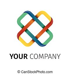Cross Logo X letter abstract looped locked vector design...