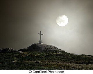 Lonely white cross in a hill