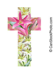 Cross made from lily flowers - Christian cross made from ...