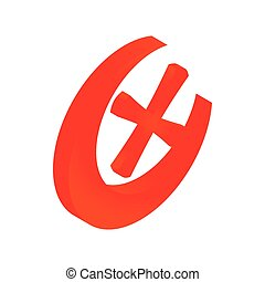 Cross mark in circle icon, isometric 3d style