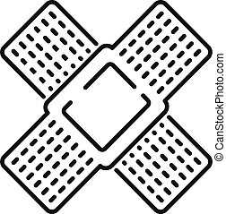 Cross medical plaster icon, outline style