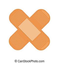 Cross Medical Plaster Isolated. Adhesive Bandage.