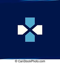 Cross Medical with X Letter Logo vector