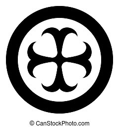 Cross monogram dokonstantinovsky Symbol of the Apostle anchor Hope sign Religious cross icon in circle round black color vector illustration flat style image