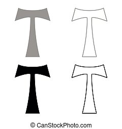 Cross monogram T Symbol Saint Anthony Apostle sign Religious cross icon set black color vector illustration flat style simple image