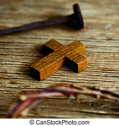 cross, nail and crown of thorns of Jesus Christ