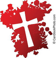 Cross of blood - Blood splatter with negative image of a...
