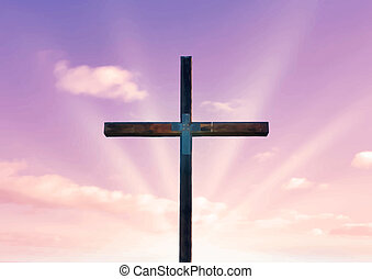 cross of christ and pink sky