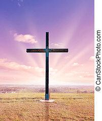 cross of christ at sunset or sunrise