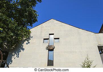 Cross of church on wall