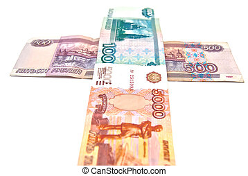 Cross of different Russian banknotes