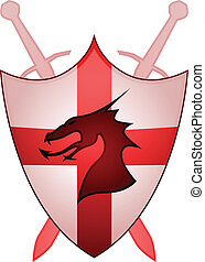 Cross of England sheild - Crossed swords, dragon and shield...