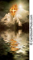 Cross of Fire - Burning Cross Hangs in Sky over Water