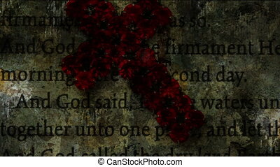 Cross of Jesus on bible grunge concept
