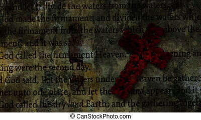 Cross of Jesus on bible grunge concept
