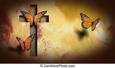 Cross of Jesus setting butterflies free