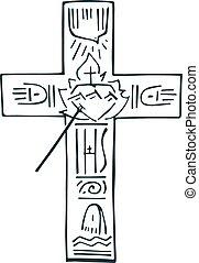 Cross of life b - Hand drawn vector illustration or drawing...
