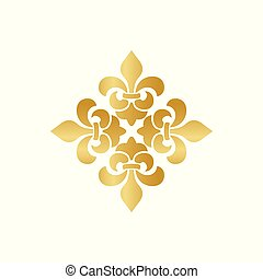 Cross of Lilies, Royal heraldic cross. Fleur de Lis sign, musketeer icon. Vector element on white background