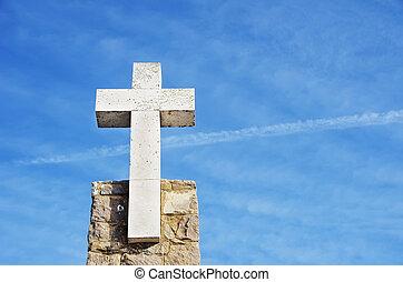 Cross of marble in the Cabo da Roca, Portugal