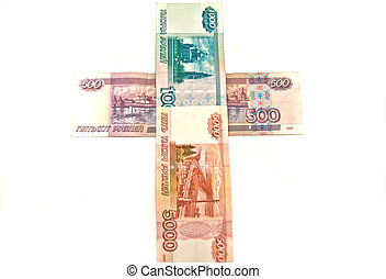 Cross of Russian banknotes
