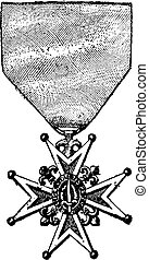Cross of the Order of Saint-Louis, vintage engraving