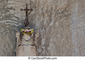 Cross on a cemtery in France.