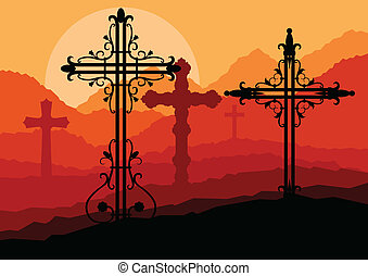 Cross on a hill at sunset vector background concept landscape