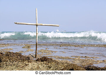 Cross on a Reef (small) - A small cross on a reef.