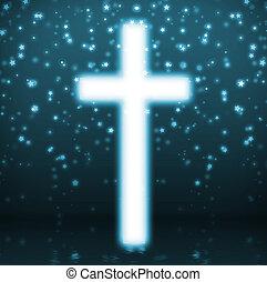 Cross on blue background