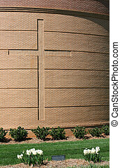 Cross on Curved Brick Wall