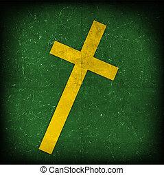 cross on green grunge background